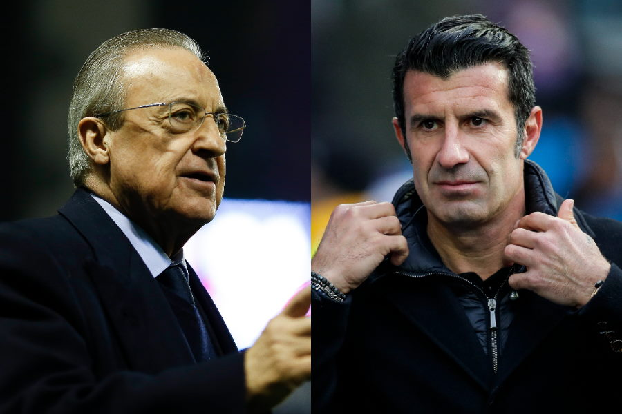 レアルのペレス会長と元ポルトガル代表MFルイス・フィーゴ氏【写真:Getty Images】