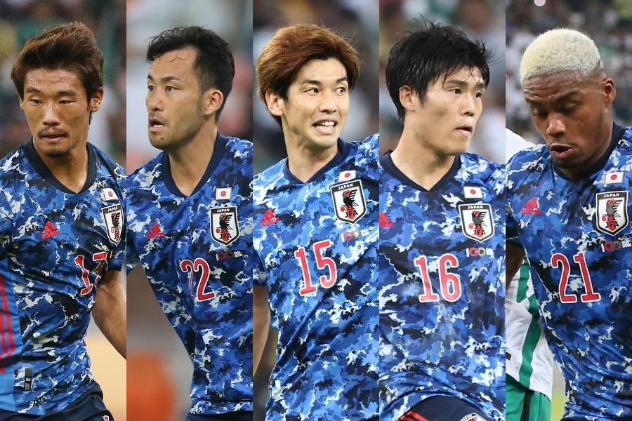 (左から)守田、吉田、大迫、冨安、オナイウ【写真:JFA】