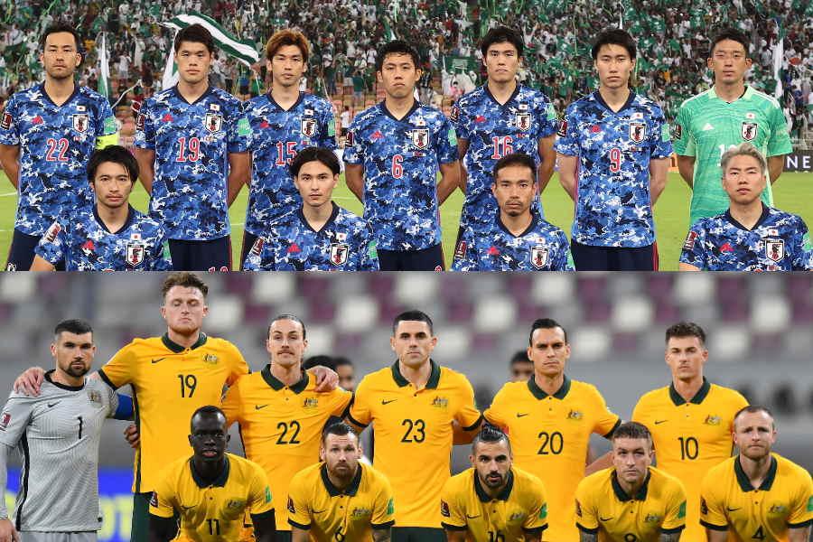 オーストラリア代表戦に挑む日本代表【写真:Getty Images & ©JFA】